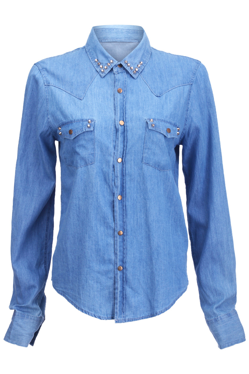 ROMWE | Riveted Detailed Blue Denim Shirt, The Latest Street Fashion