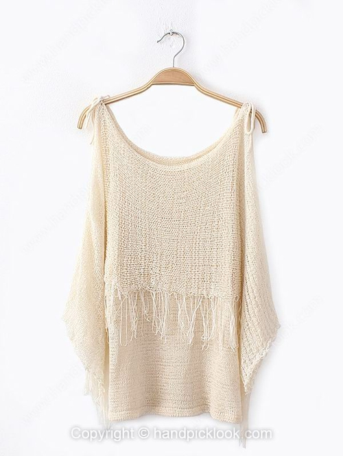 Beige tank sleeveless tassel sweater