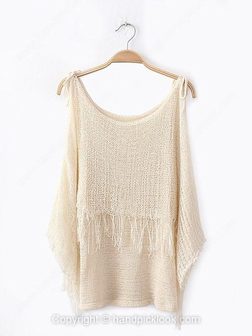 Beige Tank Sleeveless Tassel Sweater - HandpickLook.com