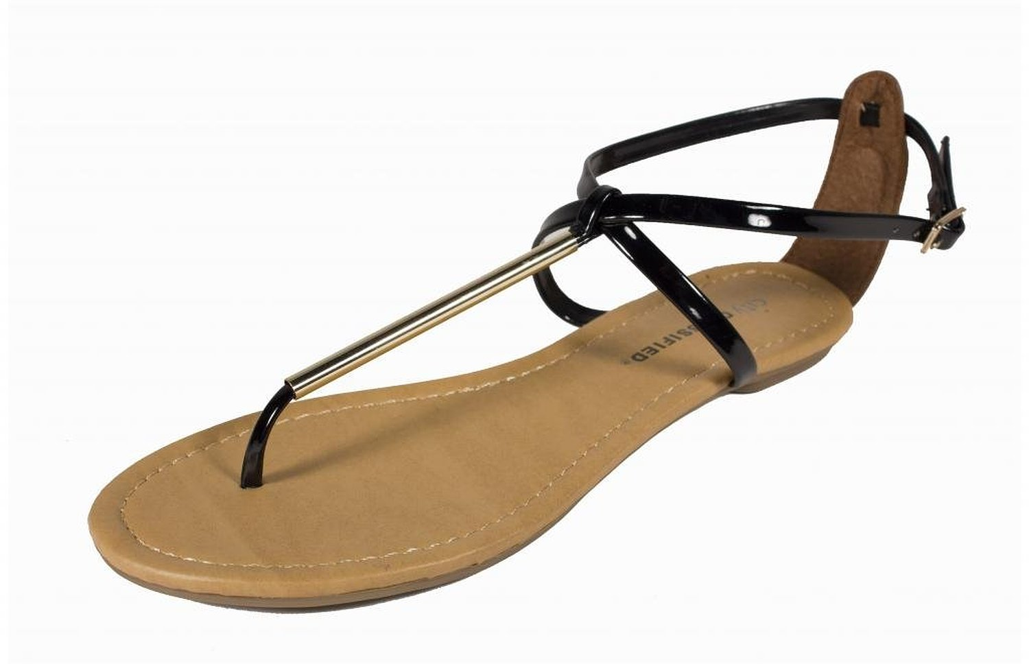 Amazon.com: elaine! by city classified gold thong sandal in black patent leatherette: shoes