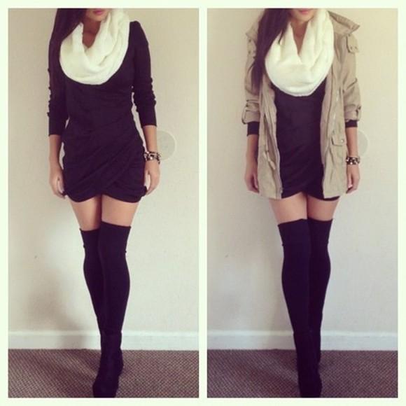 scarf knee high socks knee high socks shoes jacket cream boots cardigan