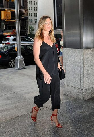 pants top jennifer aniston black sandals sandal heels summer outfits blouse shoes