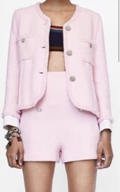 shorts,blazer,short,pink,pearl,two-piece,ring