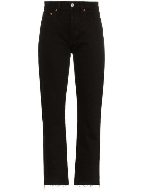 Re/Done High Rise Pipe Jeans - Farfetch