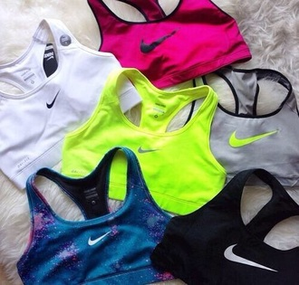 top sports bra nike neon pink grey galaxy sports bra just do it athletic ️workout clothes