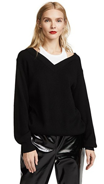 T by Alexander Wang off the shoulder white black top