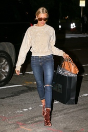 sweater,fall outfits,fall sweater,top,hailey baldwin,streetstyle,model off-duty,jeans,denim,boots,velvet,shoes