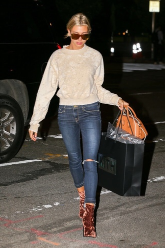 sweater fall outfits fall sweater top hailey baldwin streetstyle model off-duty jeans denim boots velvet shoes