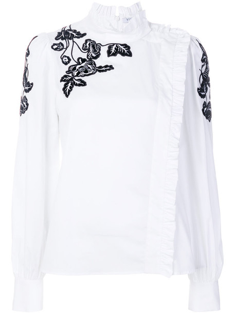 VIVETTA shirt embroidered women spandex floral white cotton top