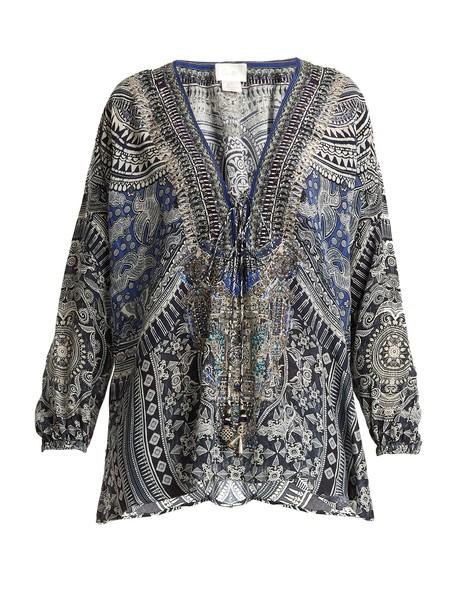 Camilla print silk blue top