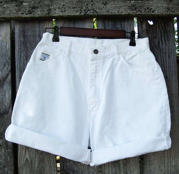 high waisted white jean shorts - Jean Yu Beauty
