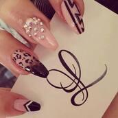 nail polish,black,diamonds,crystal,acrylic nails,tiger print,white,pink,style,fashion,designer