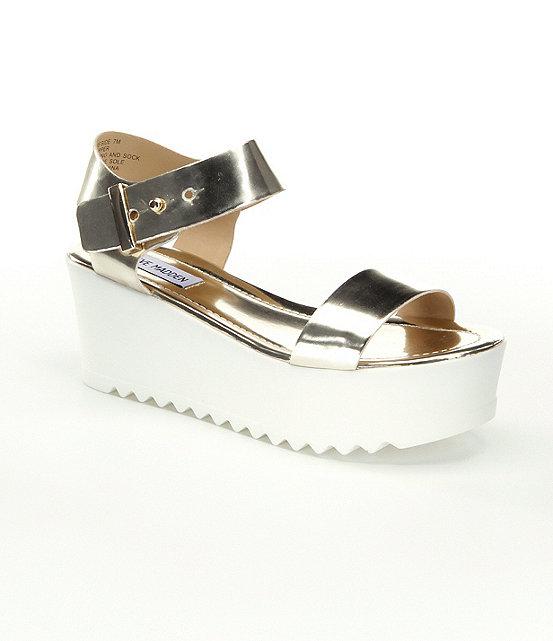 35ba9beb83db Steve Madden Surfside Metallic Flatform Sandals