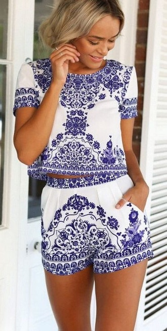 jumpsuit two-piece romper outfit blue and white