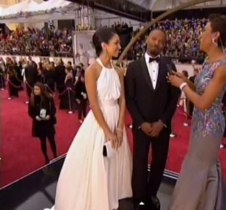 dress white oscars flowy loose silk long dress prom jamie foxx corrine bishop pretty long white prom dress