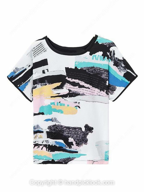Black Round Neck Short Sleeve Graffiti Print T-Shirt - HandpickLook.com