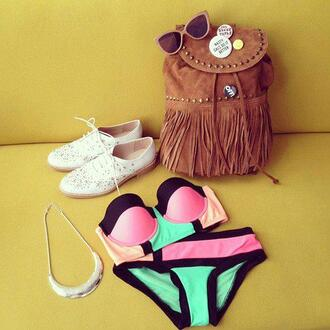 swimwear swag bikini bandeau bikini high waisted bikini summer beach water pink aqua blue indie bag shoes orange black green fluo two-piece