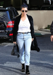top,jeans,boyfriend jeans,kourtney kardashian,coat,fall outfits,kardashians,velvet