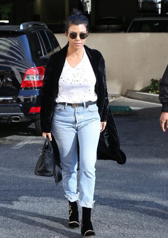 top jeans boyfriend jeans kourtney kardashian coat fall outfits kardashians velvet
