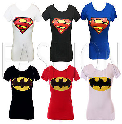 NEW LADIES WOMENS SUPERMAN PRINTED T-SHIRT GIRLS TOP SLEEVES LONG LENGTH 8 10 12 | eBay