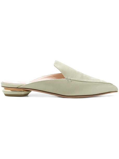 women mules leather cotton green shoes