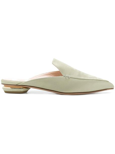 Nicholas Kirkwood women mules leather cotton green shoes
