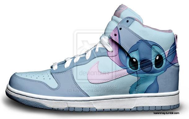 Shoes Stitch Blue Disney Nike Cute Sneakers High Top