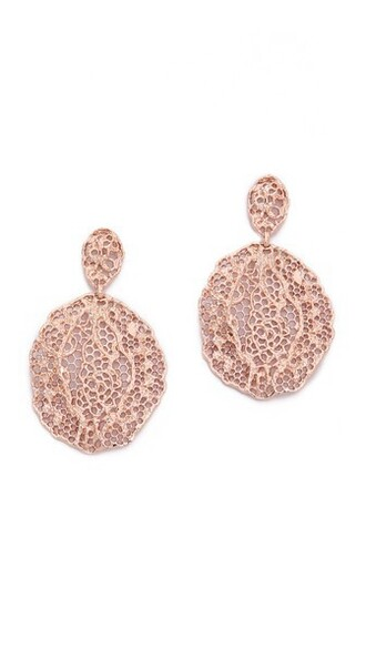 rose gold rose earrings lace gold jewels
