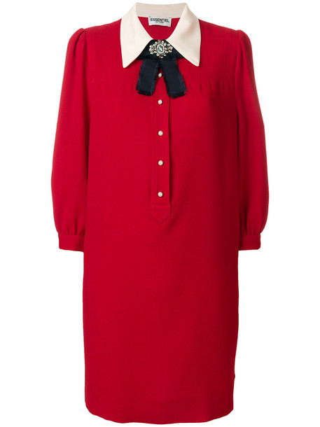 ESSENTIEL ANTWERP dress embellished dress bow women embellished red