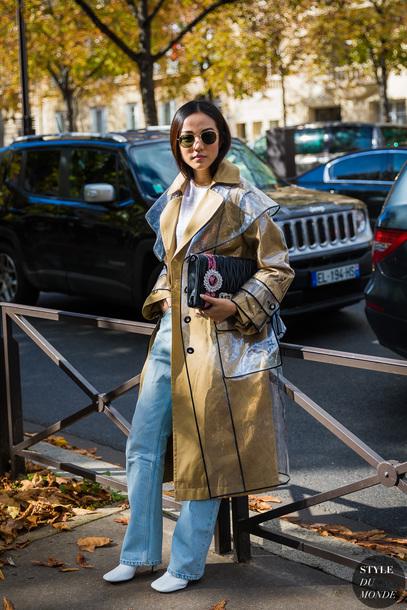 styledumonde blogger jeans coat bag sunglasses shoes fall outfits trench coat rain coat
