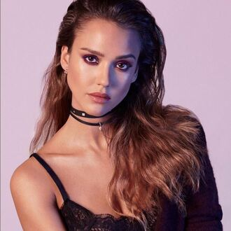 jewels choker necklace jessica alba necklace accessories jewelry black choker celebrity earrings