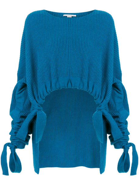 jumper oversized women blue wool sweater