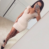 dress,beige dress,beige,nude,nude dress,low cut,bodycon dress,short nude dress,all nude everything,low cut dresses,tight-fitting dress,shoes,heels,black shoes,strappy,strappy heels,high heels,black heels,strappy black heels,strappy black shoes,brown,brown dress,v neck dress,v neck,fashion,pumps,cute,style,black,bodycon,sexy dress,party dress,cute dress,girly dress