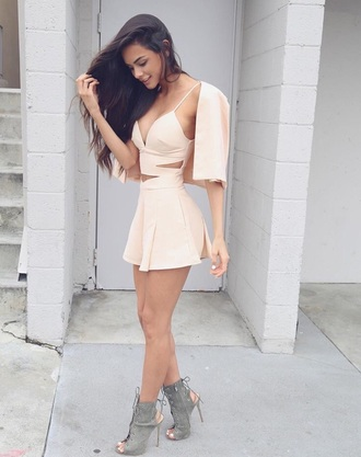 dress light pink white dress sexy dress party dress summer dress summer top skirt fashion lace dress bodycon dress bandage dress pink dress crop tops beige creme grey cute cute dress pink romper girly instagram pretty mini dress cut-out dress nude strappy olive green heels heels