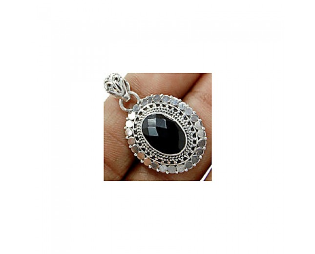 Handmade 925 sterling silver Faceted Black Onyx Pendant