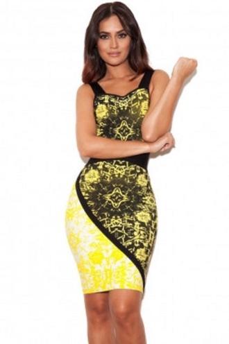 dress mess print cute wots-hot-right-now bandage dress yellow yellow dress sexy sexy dress party dress clubwear