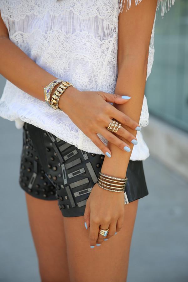 shorts studded shorts blouse jewels