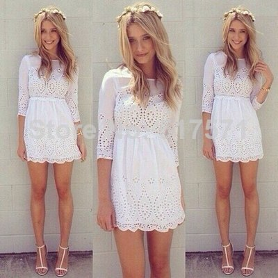 2014 European summer fashion woman lace hollow out dress floral embroidery sexy white club party mini for women on Aliexpress.com