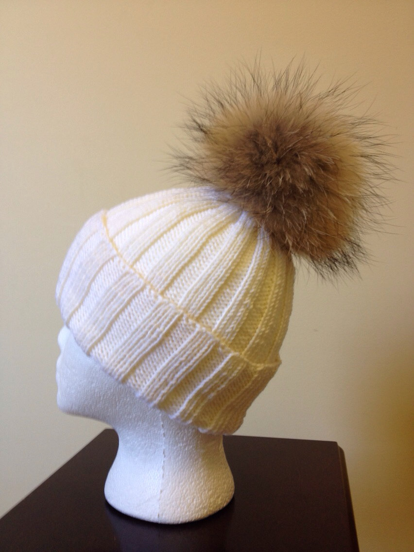 Ribbed White Wool Beanie Hat - Natural Brown Raccoon Fur Pom Pom 061d96c6de9