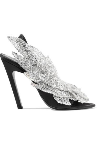 embellished sandals black satin shoes
