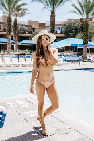 swimwear bikini bikini top bikini bottoms hat summer pool time