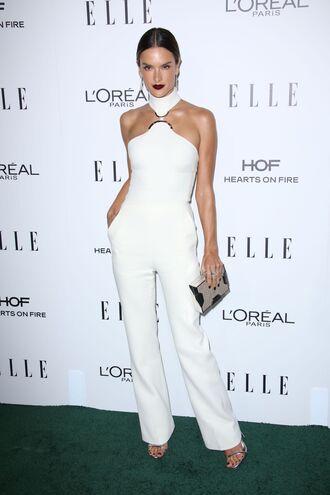 jumpsuit white pants top model alessandra ambrosio