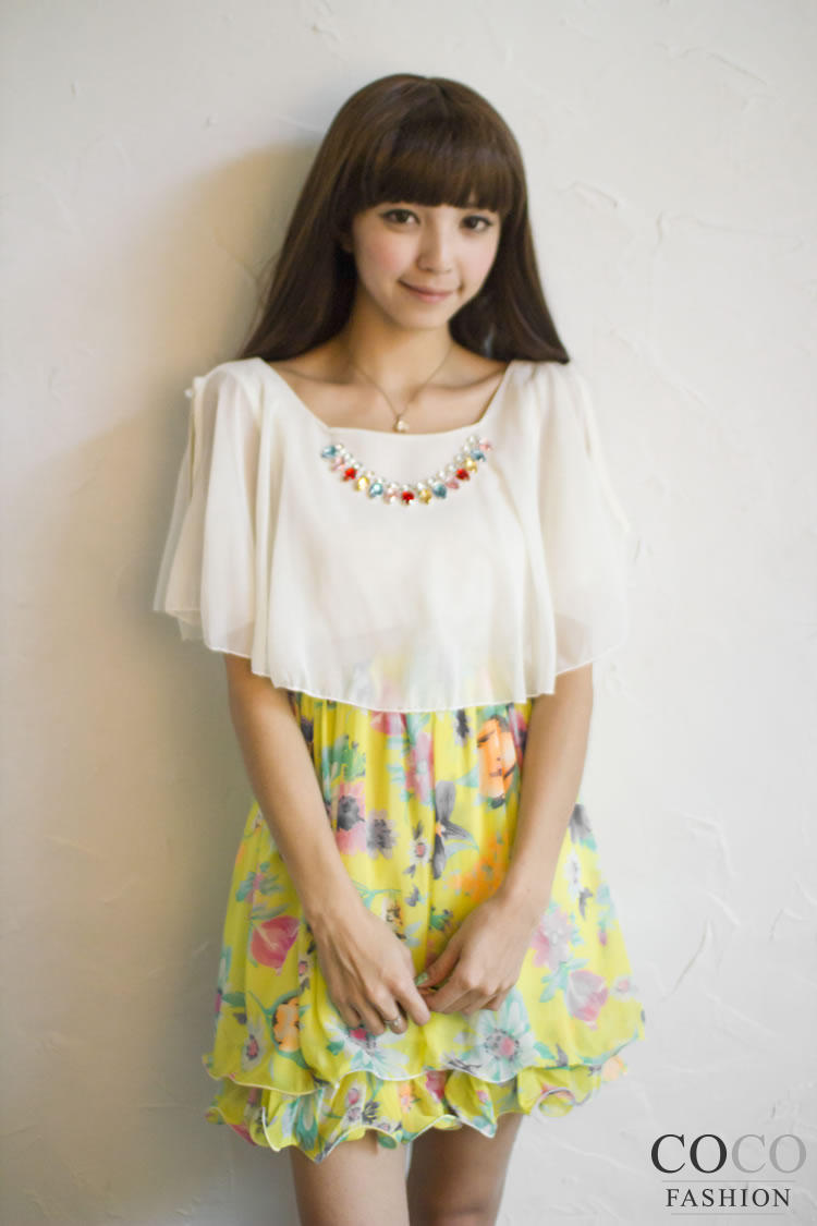 Green Chiffon Summer Dress with Cute Yellow Floral Skirt and Cut Out Shoulders