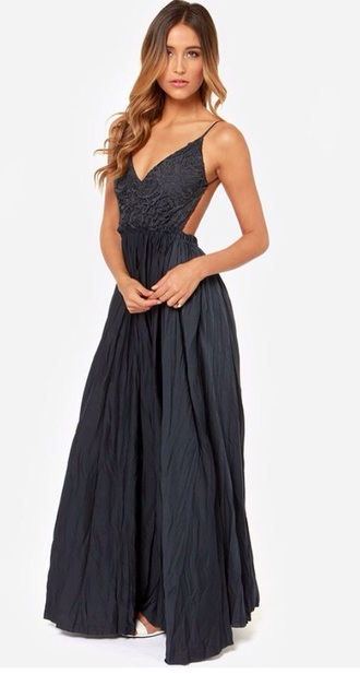 dress lulu*s navy blue dress navy dress full length open back dress