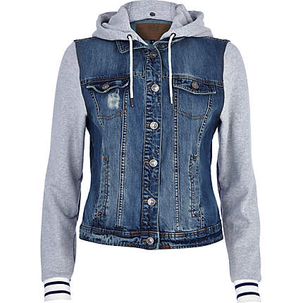 wash contrast jersey sleeve denim jacket - denim jackets - coats ...