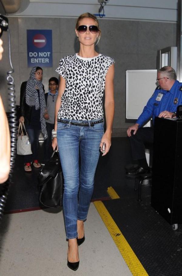shirt heidi klum sunglasses jeans