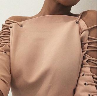 top pink top cut out shoulder