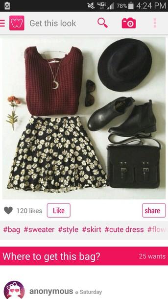 skirt flowers girly sweater bag