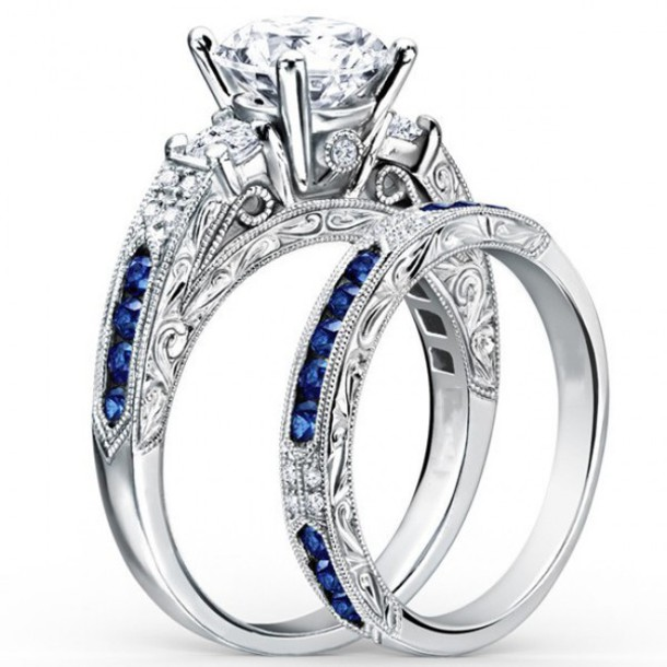 jewels fashion ring set evoleescom round cut diamond ring set fantastic blue sapphire and - Blue Wedding Ring Set