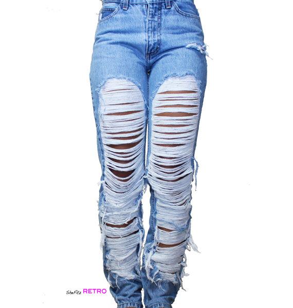 Vintage fully shredded grunge jeans